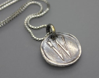 Wax Seal Necklace, Wax Seal Jewelry, Letter Seal Jewelry, Initial Necklace, Initial Jewelry, Monogram Necklace, Monogram Jewelry, Silver