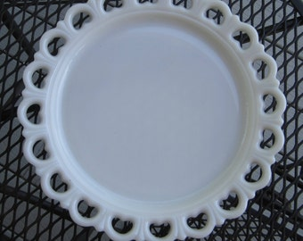 Large Vintage Milk Glass Open Lace Cake Plate, Lace Edged Plate