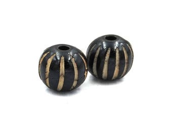Antiqued Black and Beige Bone Fluted Carved beads 11mm -5pc