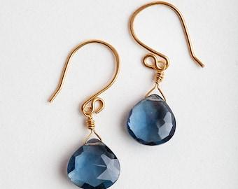Blue Quartz Earrings, Blue, Quartz Earrings, Blue Earrings, Blue Gold, Blue Gold Earrings, London Blue Quartz, Quartz Jewelry, Gift for Mom