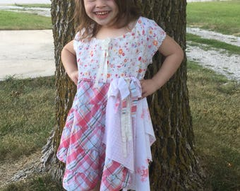 Girls ruffled dress, girls dress, girls boho dress, girls cowgirl dress, ruffled dress, ruffled gypsy dress, ruffled boho chic,
