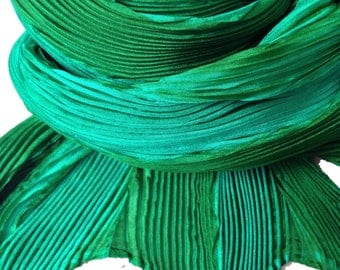 Shibori pleated silk scarf - Emerald Green and Grass Green