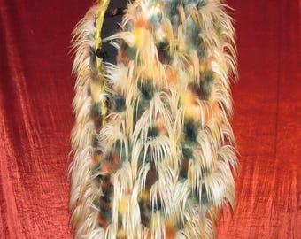 Crazy Long Yellow Bird Like Feather Fur  Unisex Burning Man Hooded Lined Long One of a Kind Coat