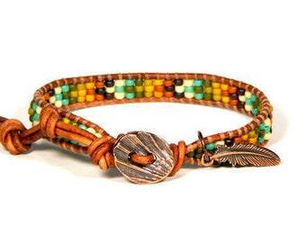 Bead Loom Bracelet Leather Wrap Bracelet Brown Yellow Rust Chevron Seed Bead Bracelet  Americana Bracelet Boho Bracelet Bohemian