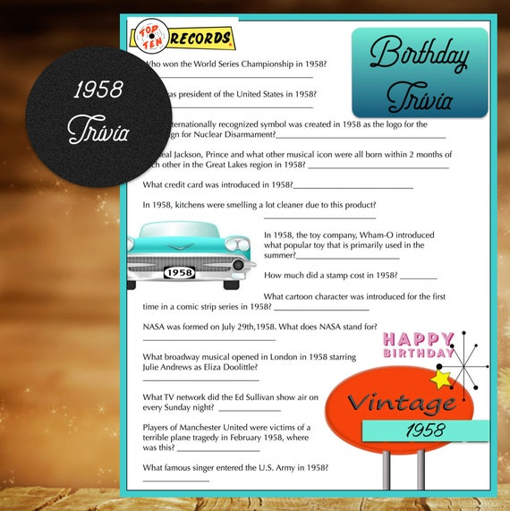 1958 Year Birthday Trivia Game Birthday Instant Download