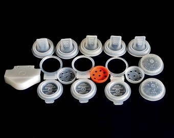 Tupperware Salt Pepper Shaker Tops Lids, Sippy Cup Sipper Seal Tips, Mix N Stor Spout Flip Top 697 299 286 207 208 6 Sheer White, Orange