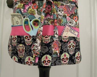 Teacher Aprons-Crafter Vendor Utility Apron-Sugar Skulls
