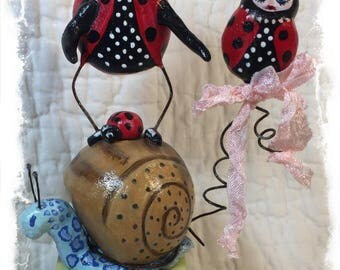 Ladybug Snail Folk Art OOAK Paper Clay Sculpture Handmade Collectible by Mibrky Creations