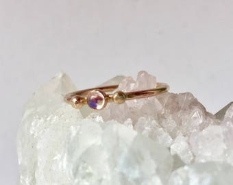 moonstone ring, 14k gold, moon stone engagement, stacking ring, minimalist glowing orb, tiny stone