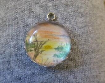 One of a kind original art landscape pendant, signed, free US shipping