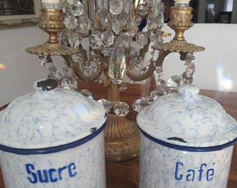 French Enamel Snow on the Mountain Sucre and Cafe Enamel Canisters