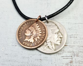 Antique Indian Head COIN necklace - Native American - double coin necklace - USA history - man necklace - mens jewelry - Mens gift