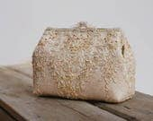New Alencon Lace Silk Gold Purse / Wedding Bag / Bridesmaid Clutch / Glam Bridal Clutch /  Evening Clutch / Formal Party Purse / Gatsby