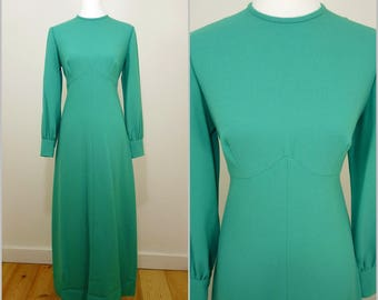 VINTAGE 1970s Retro Stunning Glam Art Deco 30s Cut Jade Green Maxi Dress UK 14 F 42 / Balloon Sleeves / Shaped Bust