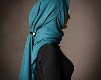 SPECIAL PROMOTION PRICE!  Unique handmade designed Hijab in a Jade Green color, chiffon, stylish, hijabista, homemade,smart, Lily