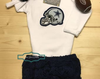 Dallas Cowboys Bodysuit, Ruffle Diaper Cover and Headband Set Made from Dallas Cowboys Fabric, Cowboys Baby Outfit, Baby Girl Cowboys, NFL
