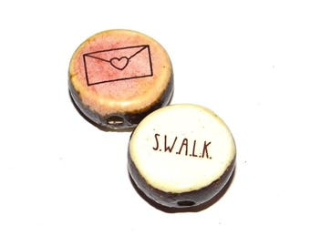 Ceramic Large Double Sided Quote Word Bead  Handmade Focal Rustic SWALK Love Letter