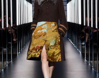 Wool coat with tapestry, ribbons and eyelets, women's fashion, winter collection