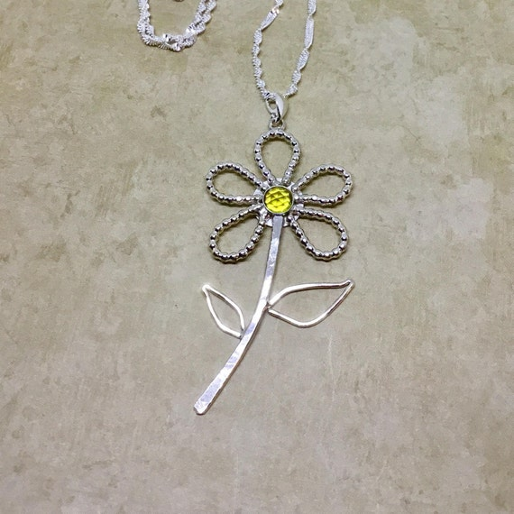 Sterling Silver Flower Necklace,  925 Silver, Artisan Jewelry, Handcrafted Jewelry, Simplistic Jewelry, Unique Gifts, Gifts Under 25 Dollars