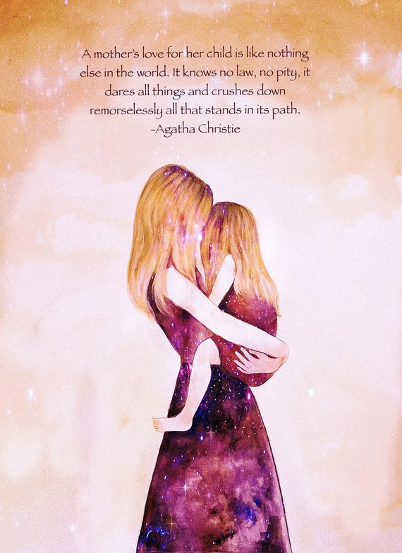 """Mother and daughter """"their world"""" blonde art print, with quote"""