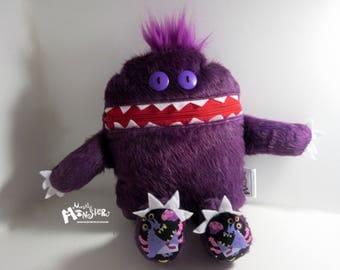 Mini Cuddle Monster pillow; Purple Plush monster; Grape Monster; pajama eater pillow; bedtime buddy; nightmare eater; Purple People Eater