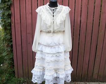 BOHO Lace Wedding Dress Separates-Ivory & White Gypsy Wedding Dress-Vintage Blouse and Upcycled Lace Skirt-Size: L/XL