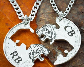 Silver Tiger Best Friends Necklaces With Custom Initials, Tiger and Tigress, Interlocking tigers hand cut and engraved on a Silver US Coin
