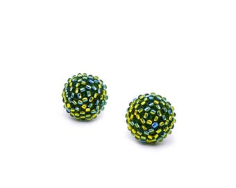 Lustered light Green/dark Blue studs earrings -15 mm/ charming earring with CLIP on or SILVER post - for pierced or non piercer ear