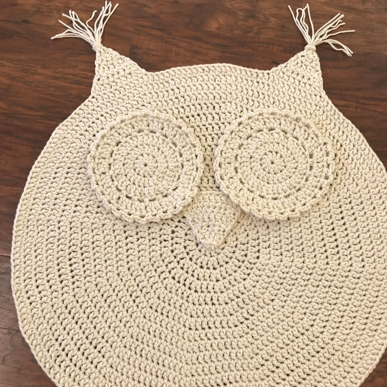 Crochet rug easy crochet pattern crochet owl rug nursery for Easy rugs