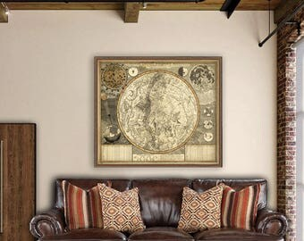Celestial map - Astrology map poster - Large constellation map reproduction