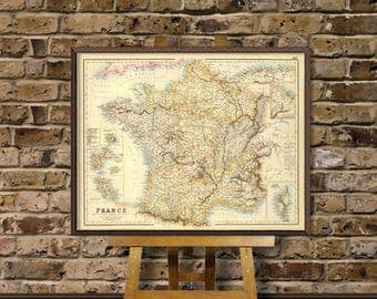 France map -  Old map of France  - Carte de la France - Old map by Fullarton - Giclee print