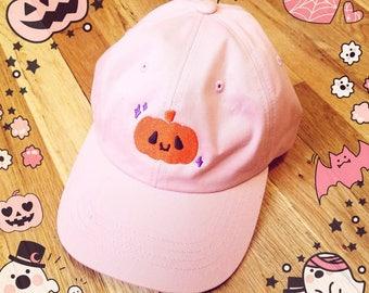 Cute Jack-o-Lantern Halloween Hat - Pumpkin Cap Dad Hat PINK AND BLACK