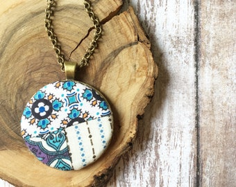 Essential Oil Vintage Quilt Diffuser Necklace