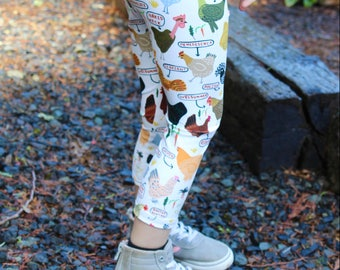 Chicken Breeds Kids Size 2T-6X Leggings - Homestead, Farming, gardening, Mothers Day, Quirky