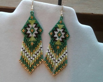 Native American Style Beaded Rug Earrings Green, Gold, Black, White,Boho, Southwestern, Fringe, Geometric, Brick Stitch Gift Ready to Ship