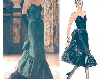 Gorgeous Vintage 1980s Vogue Designer Original 1471 Bellville Sassoon Strapless Evening Dress Sewing Pattern B32.5