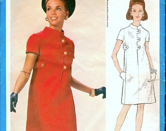 Mod Vintage 1960s Vogue Americana 2021 Designer Chuck Howard Tabbed Dress Sewing Pattern B34