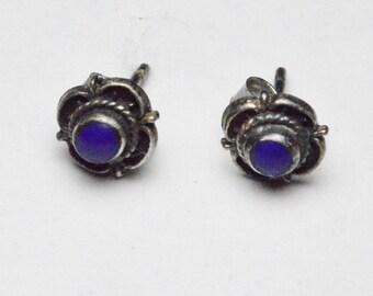 Vintage Sterling Silver Lapis Lazuli Southwestern Pierced Post Stud Earrings