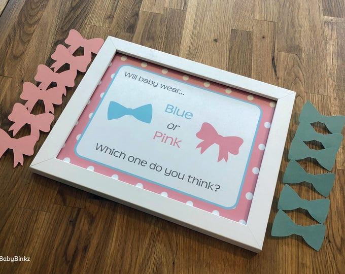 Gender Reveal Pin Set - Pins and Sign: Party Baby Shower Die Cut Pink Girl Bows & Blue Boy Bow Tie Vote Game Little Man or Miss