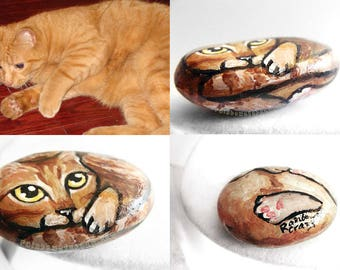 Custom Pet Portrait, Personalized Gift, Cat Painting, Dog Art, Custom Illustration, Death of Pet, Paperweight, Hand Painted Rock Memorial