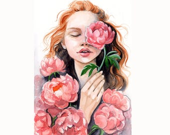 Peony Watercolor Painting