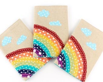 Over the Rainbow Passport Cover Cute Fabric Kids Handmade Passport Holder Travel Gift