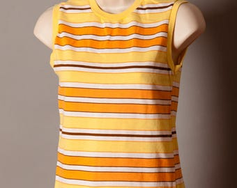 Vintage Woman's Sleeveless Top Tank - Queen Casuals - orange yellow stripe - Small
