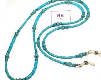 "Handmade 32"" Genuine TURQUOISE EYEGLASS Chain with Pewter Accent Beads Durable Handy"