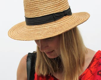 Unisex Straw Hat with Black Cotton Band