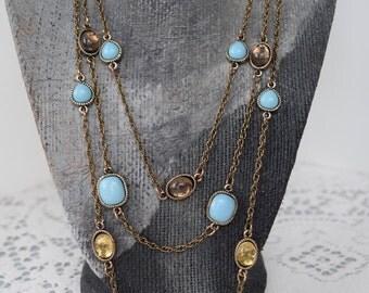Fancy Jeweled Triple Strand Necklace