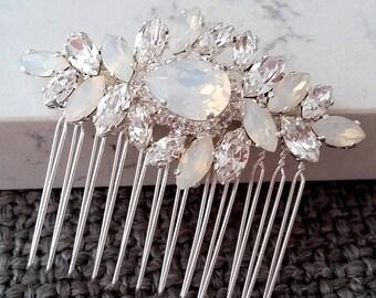 Bridal Hair Comb,Wedding Hair Accessory,White opal Hair Comb,Wedding headpiece,Crystal hair comb,Rhinestone head piece,Gatsby Headpiece