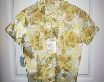 Vintage 1950s Ladies Floral Print Shirt Blouse Styled by Sybil Size 32 NOS Only 42 USD