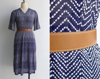Vintage 80's Zig Zag Polka Dot Print Knit Bell Sleeve Dress S or M