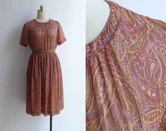 10-25% OFF Code In Shop - Vintage 80's Paisley Print Plissé Pleated Brown Dress XS or S